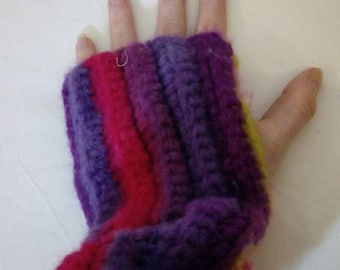 Hand knit striped arm warmers