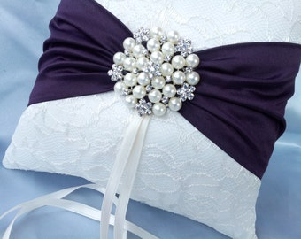 Ivory Dark Purple Ring Bearer Pillow Lace Eggplant Ring Pillow Pearl Rhinestone Accent