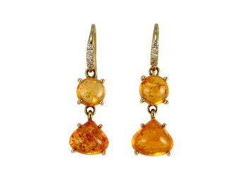 Fresh Tangerine Mandarin Garnet & Diamond Earrings