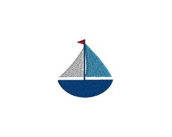 Mini Sailboat Machine Embroidery Design-INSTANT DOWNLOAD
