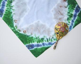 Tie-dyed Mountain Scene Cotton Bandana Square Scarf