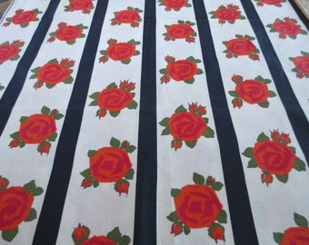 "1950-60's Deadstock Fabric/Yardage // Horizontal Stripes With Roses // Light Texture...35"" wide X 4 feet long"