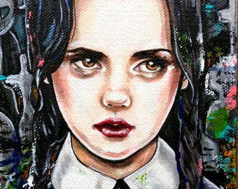 Wednesday Addams  -  8x10 Archival Satin paper print addams family goth lowbrow gift halloween