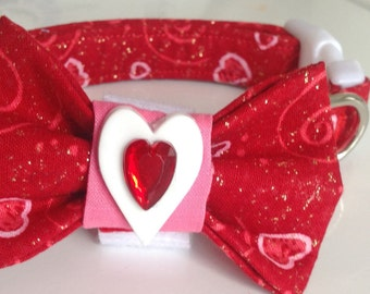 Red Valentine's Day Bow Tie Collar for Male Dogs and Cats