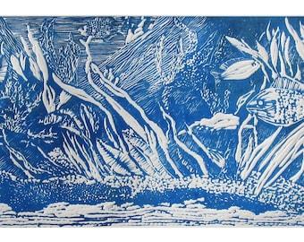 Lovely Seascape Linoleum Block Print on White BFK Printing Paper