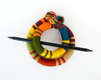Ethnic bun holder, Stick Slide Fascinator, Shawl brooch, Large hair barrette, Thick hair clip, Colorful pin slide Ponytail Corn Green Yellow
