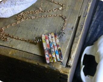 The Painted desert  Urban rustic Southwestern ceramic sticks fringe mini bib necklace