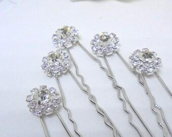 Bridal hair pins, wedding hair pins, rhinestone hair pins, bridesmaid hair pins, hair pins