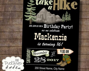 Hiking Party Birthday Invitation, camping birthday invite, Printable Digital Invitation, A509