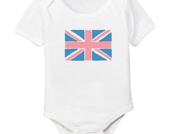 Pink & Blue Union Jack British Flag Organic Cotton Baby Bodysuit