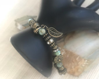 Beaded Stretch Bracelet with Green Jasper, Metal Spacers with Antique Gold Studded Beads, Spacers, Item#594267992