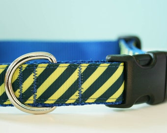 Large Dog Collar - Blue and Yellow Adjustable Dog Collar - Large Dog