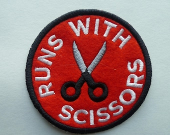 Runs with Scissors Patch Embroidered Sew on Patch Patches Fabric Badge Felt Danger seeker achievement merit badge