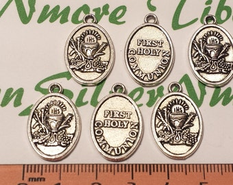 8 pcs per pack 20x15mm Oval First Communion charm in Antique Silver lead free Pewter.