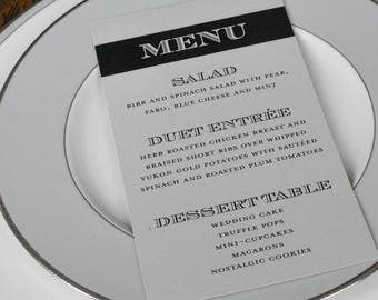 Silver Art Deco Wedding Menu - Dinner Menu, Reception Menu, Silver Wedding - Kerry and Ralph