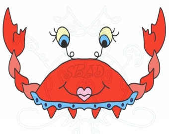 Crab Girl Character Digital Clip Art Hand Drawn Instant Download Digital Artwork animal sea life beach tropical crabs sand crabs ocean red
