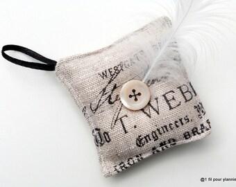 Spade - needles square vintage linen cushion, pincushion.