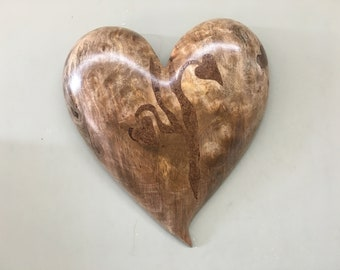 Myrtle wood heart wall hanging 50th Anniversary gift present