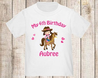 Girl Cowgirl Horse Personalized Birthday Shirt - ANY AGE