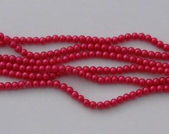 50 glass Pearl 6 mm - Ref Fuchsia beads: PVN 523