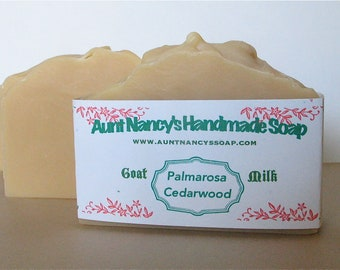 Palmarosa Cedarwood Handmade Goat Milk Soap with Cocoa Butter - Made From Scratch, Scented With Essential Oils - Nice Woodsy Scent