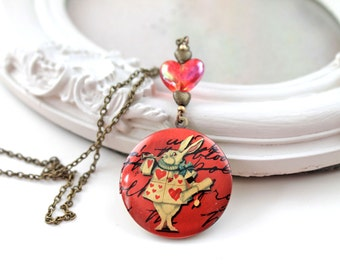 White Rabbit Alice in Wonderland locket necklace red heart kawaii lolita