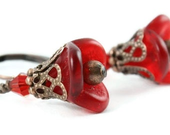 Ruby bell flower glass and antique copper leverback earrings READY to ship (134)