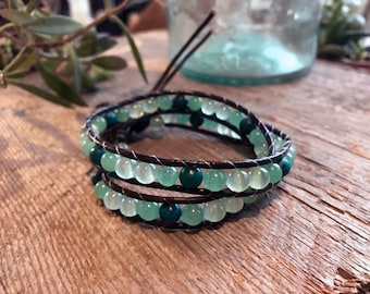 Leather Double Wrap Bracelet with Sea Glass Inspired Beads