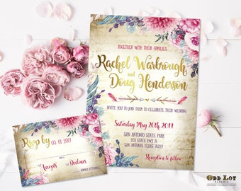 Boho Chic Wedding Invitation Printable Suite Bohemian Wedding Floral Invitations Magenta Purple Wine Gold DIY Stationery
