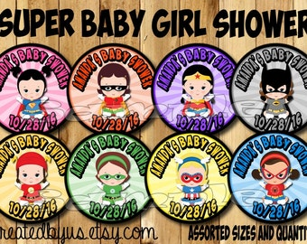 Baby girl Superhero Thank you tags Superhero Baby Shower stickers baby super hero Party favor tags Custom Gift tags Cupcake toppers PRECUT