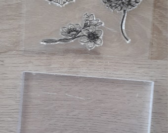 Clear acrylic block and flower stamp