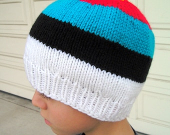 Archery Target Hat Knit Beanie Pattern ~ Instant Download PDF Bullseye Beanie Knitting Cap Pattern ~ Unisex Beanie PDF Multicolored Stripes
