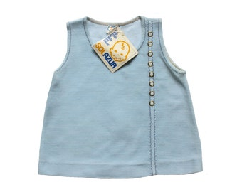 FRENCH VINTAGE 60's / baby dress / tunic dress / light blue wooly jersey / new old stock / size 6 months