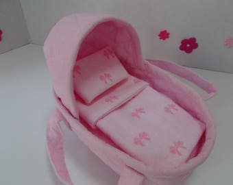 """Mini Reborn Doll Moses Basket, Doll Carrier Bed, Fabric Doll Carrier, Mini Silicone Doll Bed, 8"""" Moses Bed for Mini Reborn Dolls"""