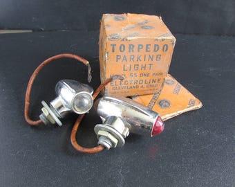 Indian Harley Electroline Torpedo Parking Lights Model 55 in the box