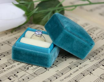 Velvet Ring Box Turquoise and Cream, Handmade
