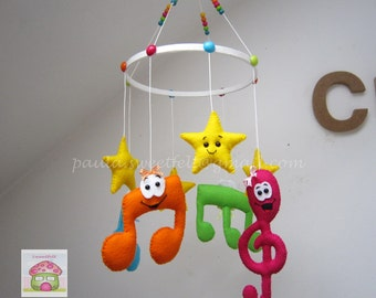 Happy musical notes baby crib felt  mobile