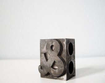 """Vintage metal ampersand block """"and"""" & letterpress type collectible typography"""