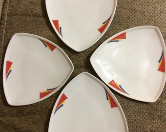 Homer Laughlin Milford PRIME Triangle Salad Plates set 4 snack primary
