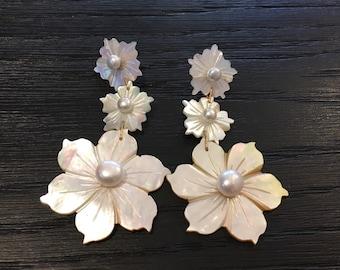 Triple Pearl Flower Earrings