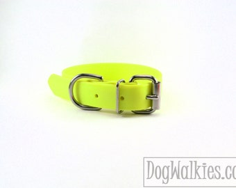 """Biothane Dog Collar - Sunny Neon Yellow 1"""" (25mm) Wide - leather look and feel - Adjustable Custom - Stainless Steel or Brass Hardware"""