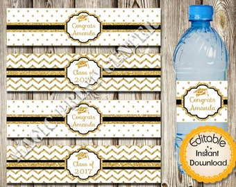 Editable Water Bottle Labels, Graduation, Gold Black, Editable in Acrobat Reader, Instant Download, DIY, Printable