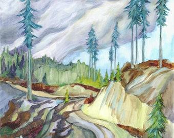 "original oil painting, ""Sun Break"", nature, forest, trees, sky, clouds"