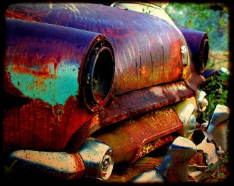 Automotive Art - Garage Art - Miss Violet at the Starting Line - Rusty Car - Ford - Fine Art Photograph by Kelly Warren