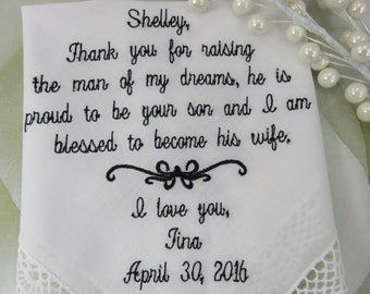 FREE Gift Box Included - Mother of The Groom Handkerchief - Thank You For Raising The Man Of My Dreams, - Wedding Hankies Hanky Hankerchief