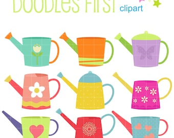 Colorful Watering Cans Clip Art for Scrapbooking Card Making Cupcake Toppers Paper Crafts