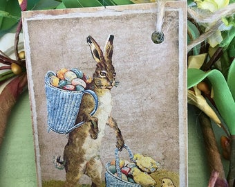 Easter Rabbit and Chicks Tag