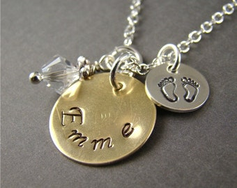 Personalized Baby Shower Gift Idea, New Mom Name Necklace, Stamped Jewelry, Gold, Silver, Birthstone