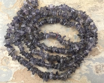 Iolite Chip Beads, Iolite Beads, Chip Beads, 32 inch strand, 5 to 7 mm