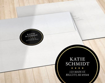 Personalized Circle Return Address Labels // Envelope Seals // Black, Hot Pink, White or Teal with Faux Gold Foil